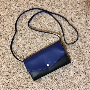 String classic wallet blue black crossbody